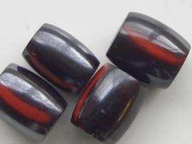 117465/4514- resin kraal 19x15mm zwart met rode accenten