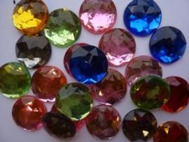 20 stuks strass stenen mix van 20mm kunststof diverse kleuren - SUPERLAGE PRIJS!