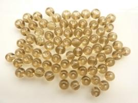 419- ca. 75 stuks ronde glaskralen van 4mm transparant bruin/grijs - SUPERLAGE PRIJS!