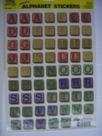 5555- K&Co 1 x A4 formaat stickervel met blokkendoosletters