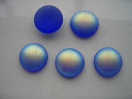 5160 - 5 x glasstenen 15x6mm blauw