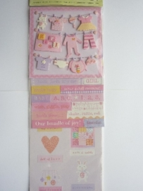 "5620- 3 stickervellen K&Co flippuck ""baby girl"" 12x30cm"
