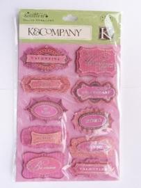 """5624- K&Co chipboard 3D stickers """"liefde"""" 12x16cm"""