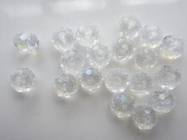 1873- 20 stuks electroplated geslepen glaskralen van 8x6mm crystal AB