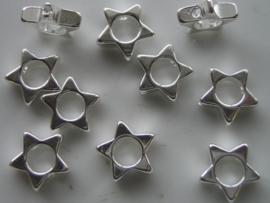 10 x verzilverde kralen voor om kraal heen - ster 117465/0704
