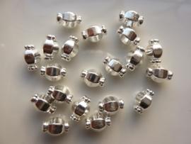 CH.H008- 20 stuks metalen kralen 9x6mm verzilverd - SUPERLAGE PRIJS!