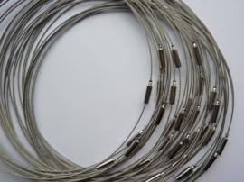 25 x draad colliers / staaldraad kettingen 45 cm met sluiting staalkleur-SUPERLAGE PRIJS!