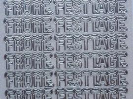 st1050- parelmoer stickervel wit/zilver tekst Frohe Festtage met sneeuwlaagje 10x20cm