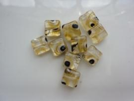 4862- 10 stuks lampwork handgemaakte glaskralen plat vierkant 9x9x4mm