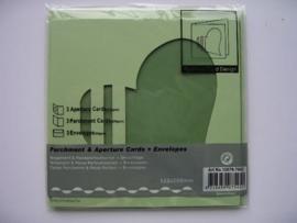 0000106- 3 x vierkanten kaarten met hartpassepartout en enveloppen