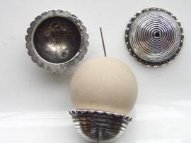22mm kralenkap 1 stuk staalkleur  -  117465/0872