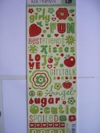 5579- K&Co berry sweet glitter stickers diverse teksten 30x12cm