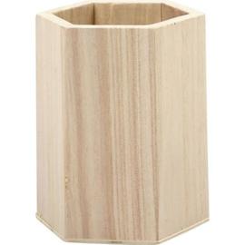 CE811730/0608- houten pennenbakje zeskant 8x10.5cm