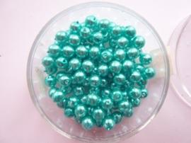 100 x ronde glasparels in een doosje 4mm aqua  -  2219 556
