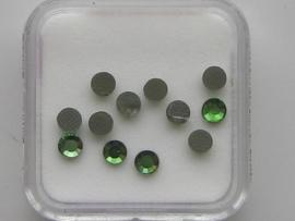 571- 12 x glazen kristalsteentjes plat 3.1mm groen OPRUIMING