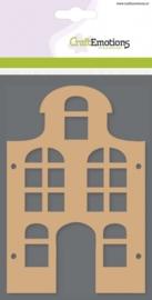 CE812301/0303- 3 stuks MDF basisvormen huis klokgevel  van 10x15cm