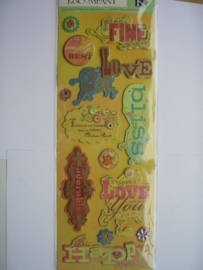 5567- K&Co 3D stickers chipboard happy love 30x12cm
