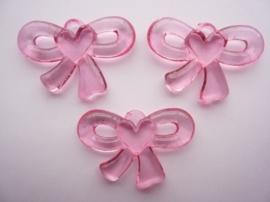 0CH.610.roze- 3 stuks strikjes babyroze 49x33x7mm