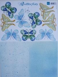kn/707- A4 3D knipvel Marianne Design vlinders met achtergrond