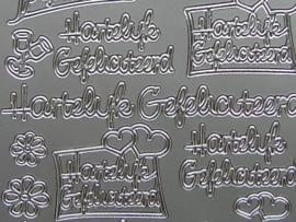 st511- hartelijk gefeliciteerd diverse uitvoeringen zilver 10x20cm