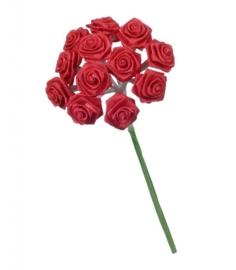 6547 150- 12 stuks roosjes van 10cm lang en 1.5cm breed rood