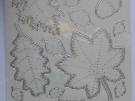 st775- stickervel borduurstickers bladeren zilver