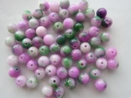 3780- 65 tot 70 stuks naturel Jade mineraal kralen van 6mm paars/groen mix