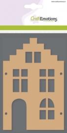 CE812301/0304- 3 stuks MDF basisvormen huis trapgevel  van 10x15cm