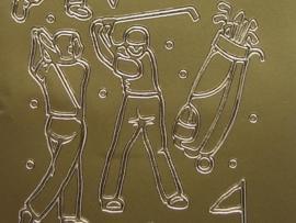 st 295- diverse golf sport goud 10x20cm