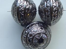 117465/3656- licht metalen kraal 28x21mm discus model antraciet