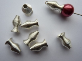 16x8mm kralenkapjes/eindstukken 8 stuks zilverkleur - CN176Y - SUPER LAGE PRIJS!