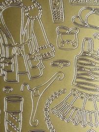 st872- sticker met dameskleding goud 10x23cm