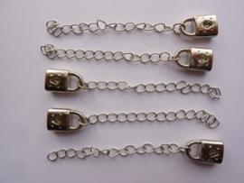 CH.0036- 5 stuks verleng kettinkjes van 6cm met hangslotje