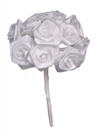 6559 901- rozenbundel wit bruidsdecoratie van 10cm - elk roosje is 2cm doorsnee