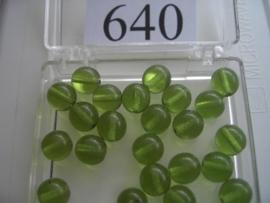 20 stuks 640 Ronde glaskraal 8 mm. licht groen