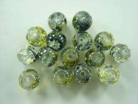 5003- 15 stuks qraccle glaskralen van 10mm zwart met een vleugje groengeel
