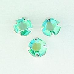 107007/0053- 12 stuks glazen rijg/naai strass steentjes 7mm rond kristal aqua AB