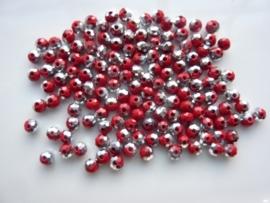 3916- ca. 145 stuks geslepen glaskralen van 4x3mm donkerrood zilverplated - SUPERLAGE PRIJS!