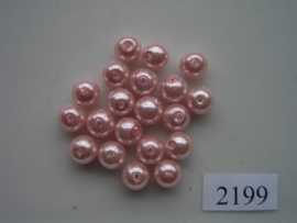 9199HT- 20 x glasparels 8mm fel roze