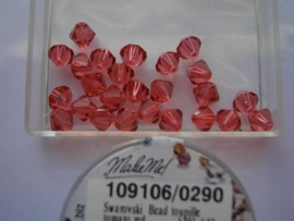 109106/0290 - 25 x swarovski 6mm padparadscha rood