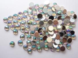ca. 130 stuks strass stenen kunststof  van 6mm zilver AB regenboog  - SUPERLAGE PRIJS!