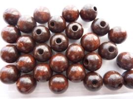 6011 279 - 30 stuks houten kralen van 12mm donkerbruin