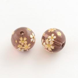 3956- prachtige exclusieve glaskraal 14x13mm roze/bruin