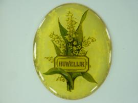 """SLK.203 - transparante zelfklevende badge """"HUWELIJK """""""