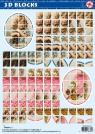 kn1870- A4 voorgestanst 3D blocks vel met meisje en bloemen  Studio Light