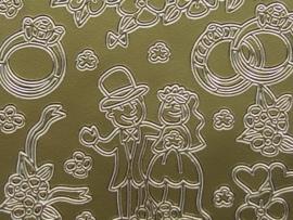 st491- trouwen, diverse afbeeldingen goud 10x20cm