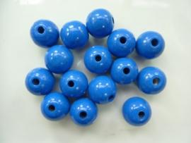 6011 533 - 15 x houten kralen midden blauw van 15mm