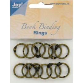 JOY6200/0130- 12 stuks boekbinders-ringen van 20mm brons