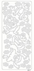 st781-B- stickervel met kikkers zilver 10x23cm  -  121001/0286