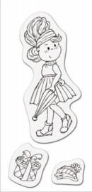 CE001883/3704- clear stamp meisje met paraplu 8x16cm